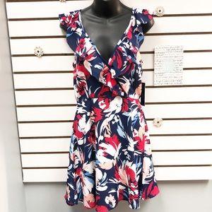 Lulu's Alviso Ruffled Floral Backless Skater Dress